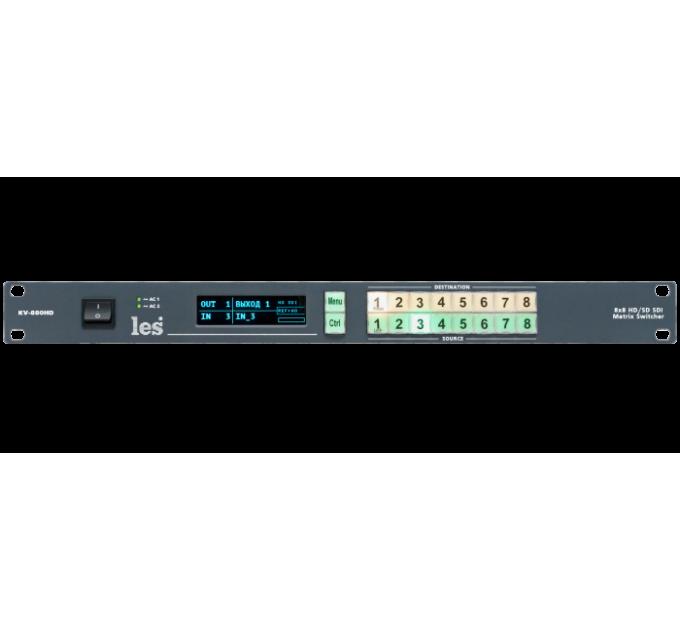 Les KV-880HD Матричный коммутатор 8х8 3G/HD/SD-SDI видеосигналов. Локальное и дистанционное управление, 2БП.