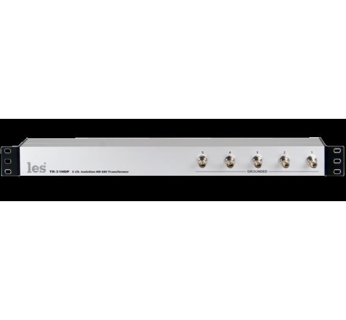 Les TR-51HDP 5 канальный блок изолирующих трансформаторов для HD/SD-SDI видеосигналов. Входные разъёмы на лицевой панели.