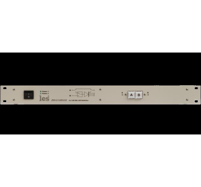 Les SW-214SDAE Коммутатор резерва 2 в 1 для SD-SDI и DVB-ASI сигналов. 4 мастер выхода. Управление с лицевой панели, по Ethernet и GPI, релейный обход, 2 БП.