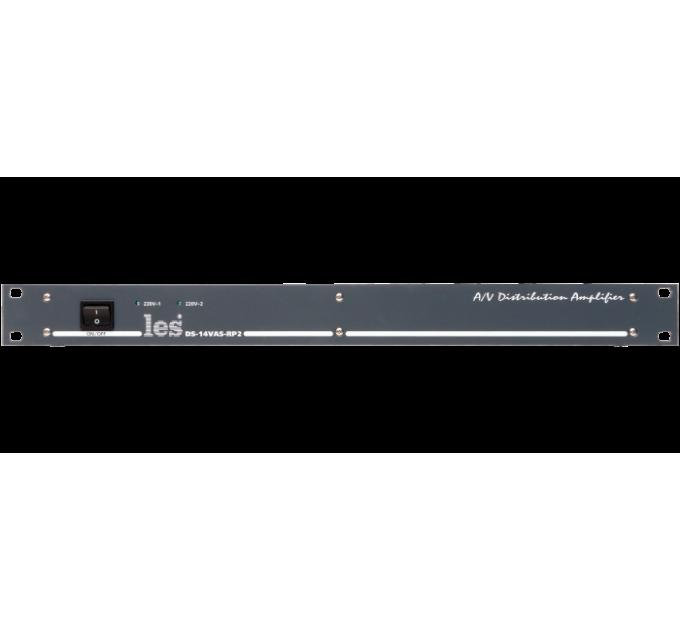 Les DS-14VAS-RP2 Усилитель-распределитель 1 в 4 композитных видео и аналоговых симметричных звуковых сигналов. Релейный обход, 2 БП.