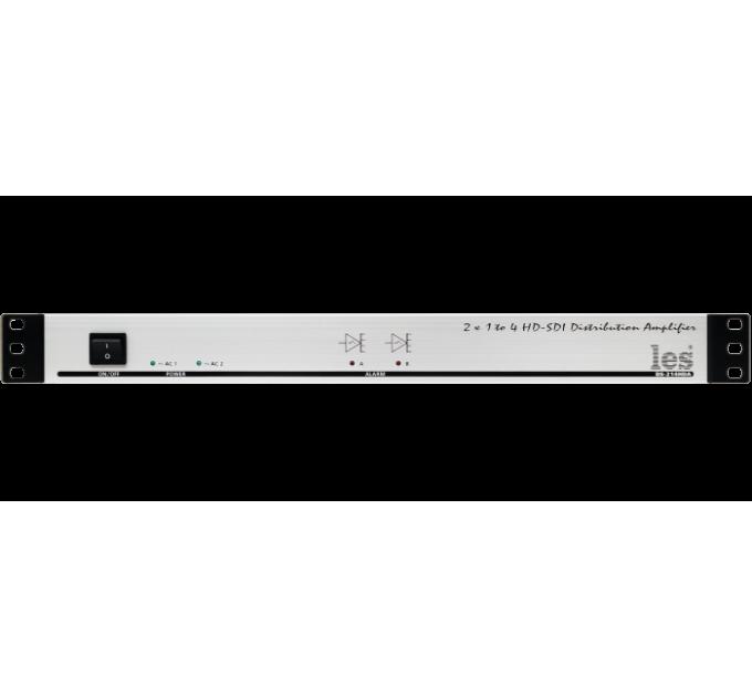 Les DS-214HDA 2 канальный усилитель-распределитель 1 в 4 для HD/SD-SDI и DVB ASI сигналов. Reclocking, релейный обход, 2 БП.