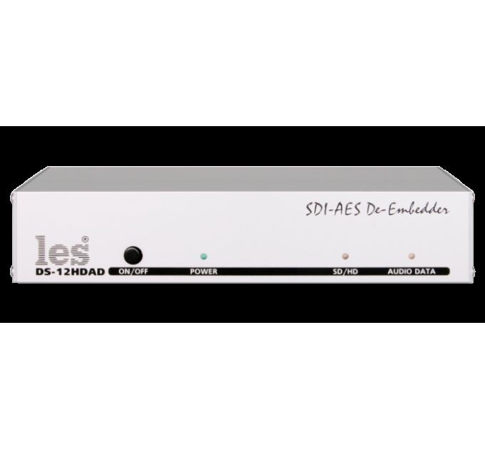 "Les DS-12HDAD Де-эмбеддер из HD/SD-SDI 4 каналов звука.Выходы: 2 видео, 2 AES/EBU. Корпус 10""."