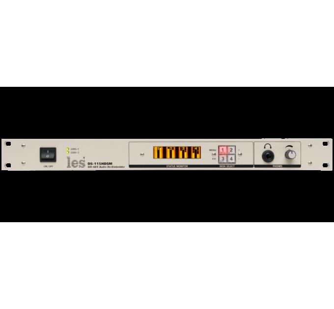 Les DS-115HDSM Де-эмбеддер из HD/SD-SDI 8 каналов звука.Выходы: 1 проходной, 2 CVBS, 4 AES/EBU, 2 аналогового звука, наушники, OLED монитор, 2 БП.