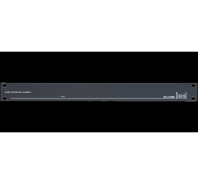 Les DS-214NS 2-х канальный усилитель-распределитель 1 в 4 несимметричных аудиосигналов, выходные сигналы симметричные.