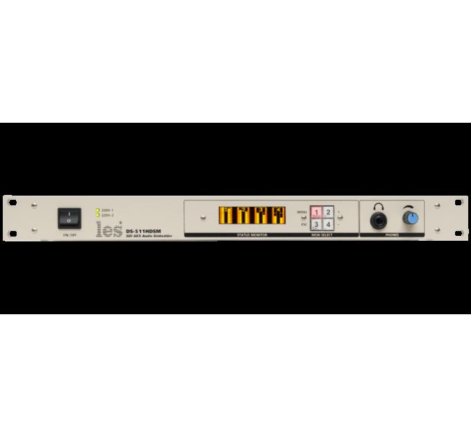 Les DS-511HDSM Эмбеддер в HD/SD-SDI 8 каналов AES/EBU или 2 аналоговых аудиосигналов. OLED дисплей, выход на наушники, мониторный выход CVBS, 2 БП.