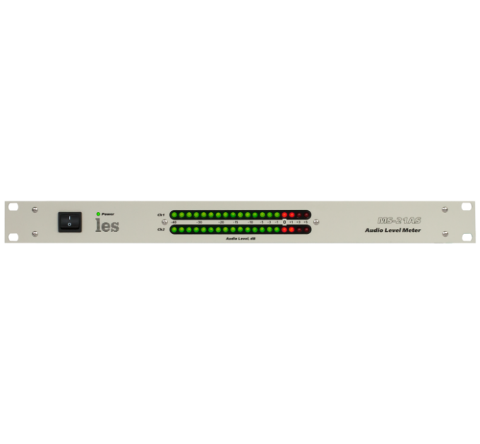 Les MS-21AS 2 канальный измеритель уровня аналоговых симметричных аудиосигналов. Индикатор из 19 дискретных светодиодов на канал.