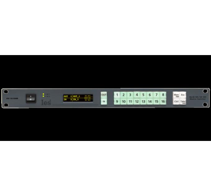 Les KV-1616HD Матричный коммутатор 16х16 3G/HD/SD-SDI видеосигналов. Локальное и дистанционное управление, 2БП.