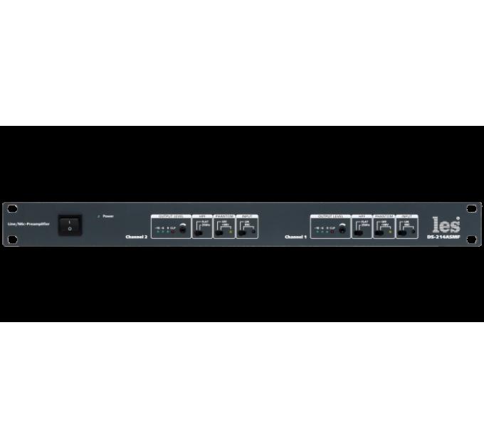 Les DS-214ASMF 2 канальный усилитель-распределитель 1 в 4 симметричных аудиосигналов. Вход линейный или микрофонный, индикатор уровня, фильтр HPF.