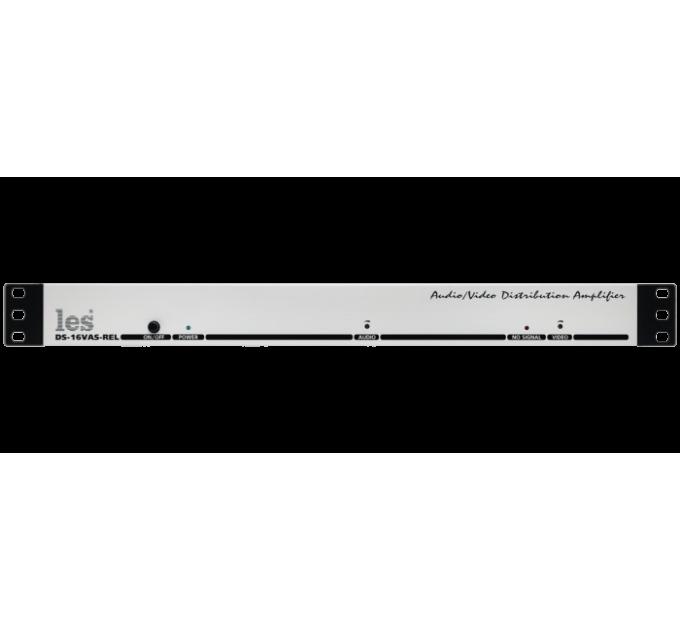 Les DS-16VAS-REL Усилитель-распределитель 1 в 6 композитных видео и аналоговых симметричных звуковых сигналов. Релейный обход по каждому тракту.